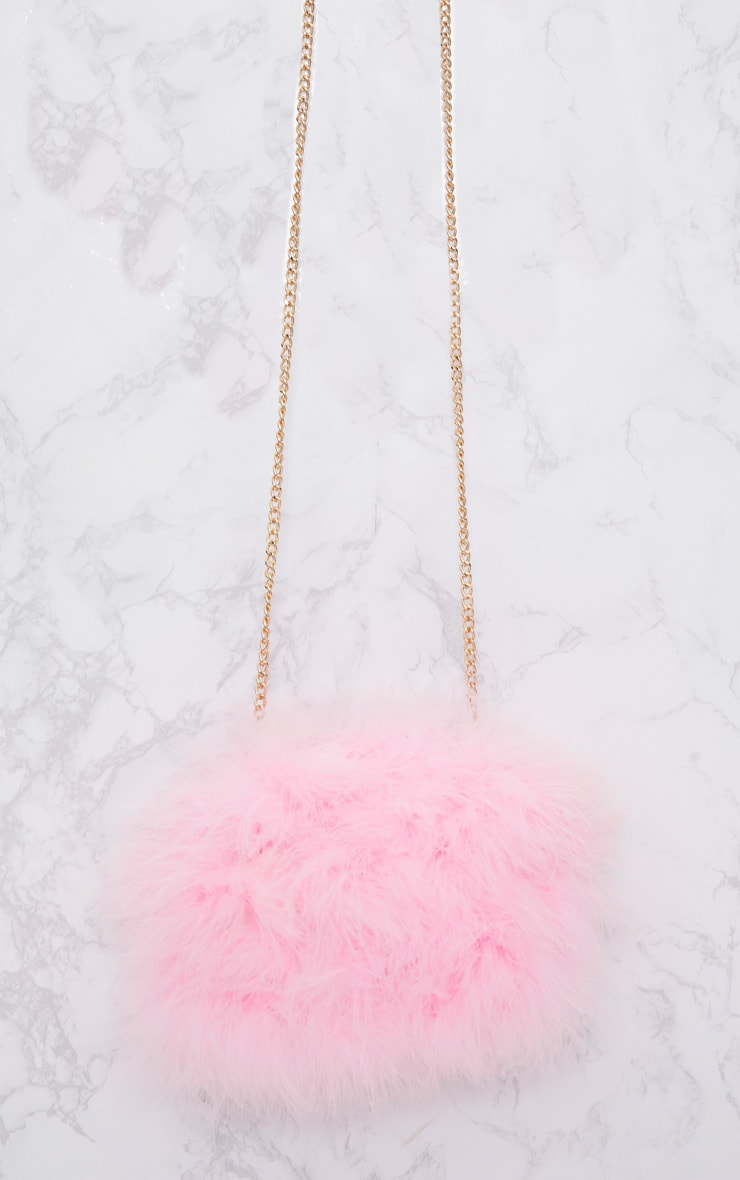 Candy Pink Marabou Feather Clutch Bag 3