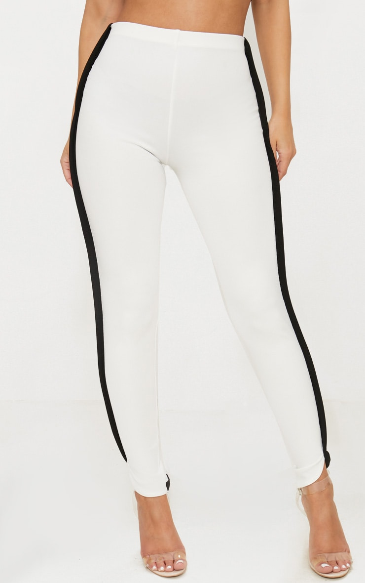 Petite White Contrast Skinny Trousers 2
