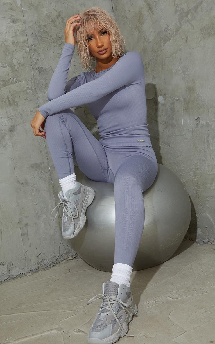 Steel Blue Seamless Rib Long Sleeve Sports Top 3
