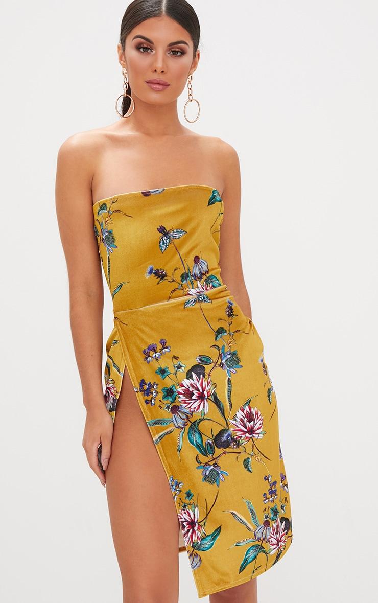Mustard Floral Velvet Extreme Split BandeauMidi Dress 1