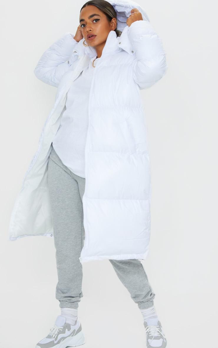 Petite White Maxi Puffer Coat 3