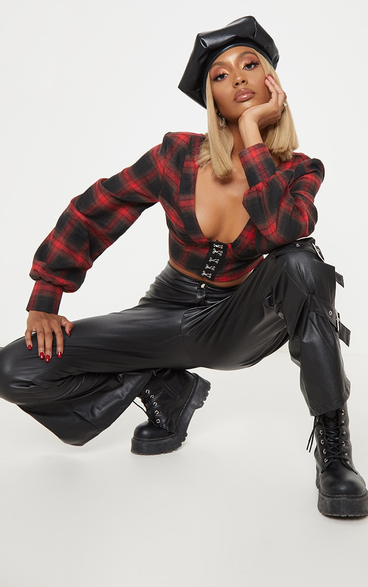 Red Tartan Hook and Eye Plunge Long Sleeve Crop Top 1