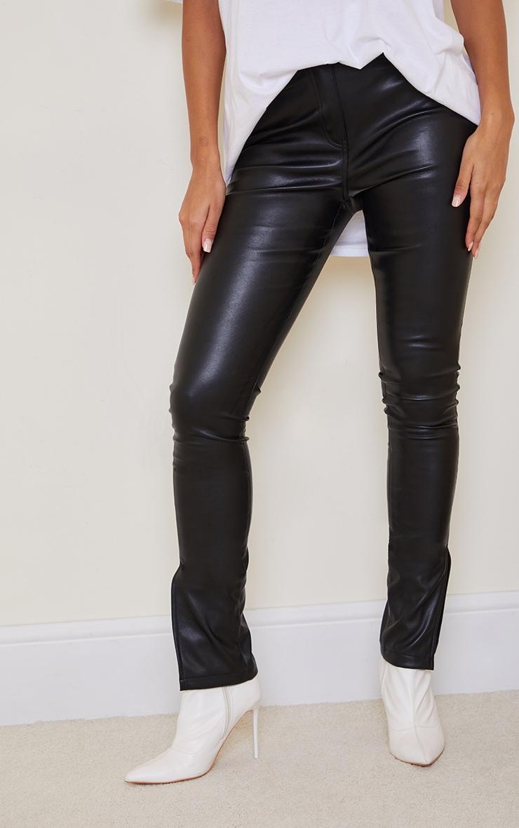 Black Faux Leather Split Hem Straight Leg Pants 2