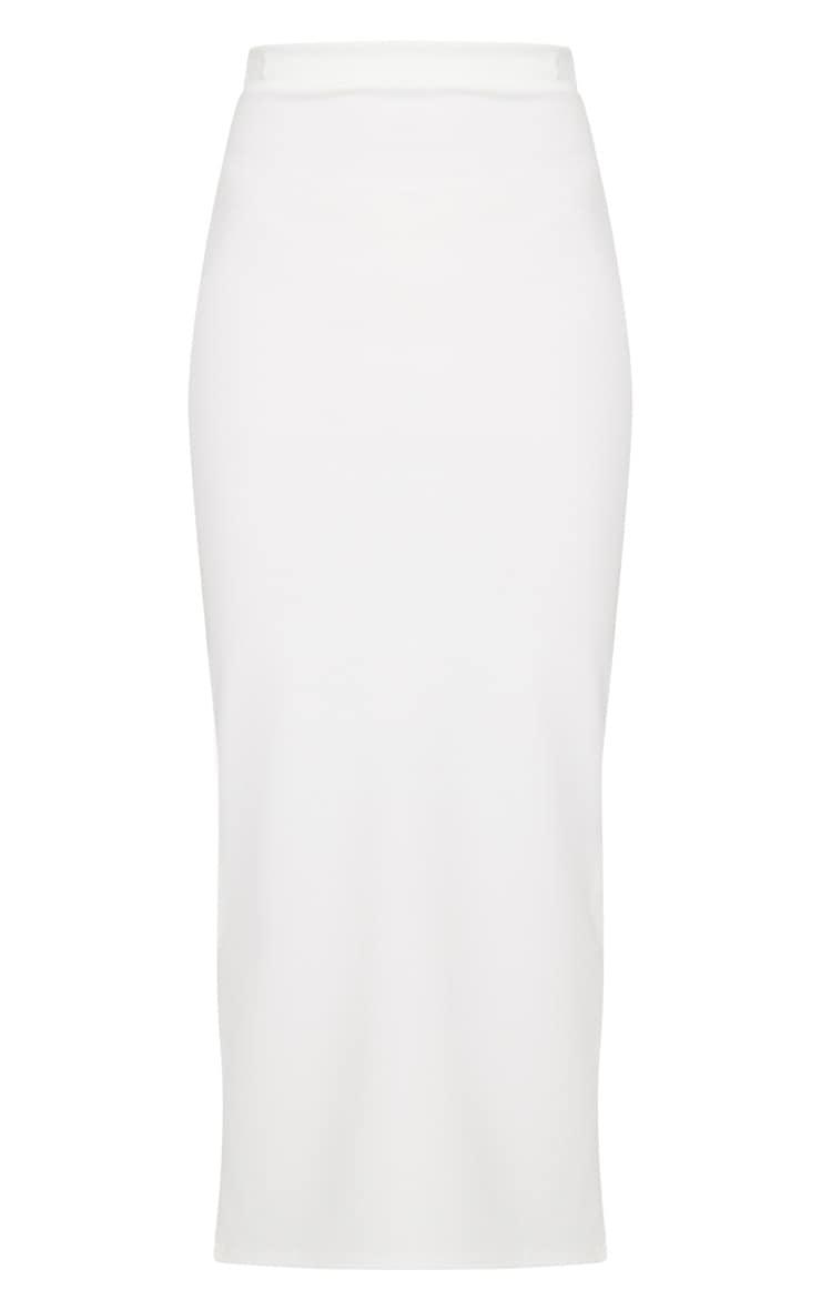 Cream Scuba Split Side Midaxi Skirt 3