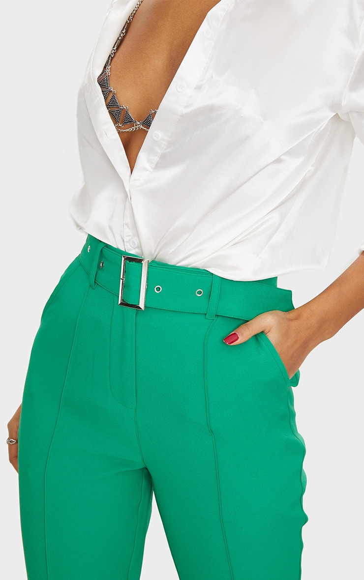 Bright Green Belted Tailored Trousers 5