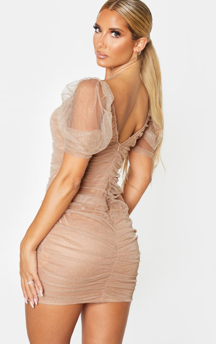 Nude Glitter Mesh Ruched Bodycon Dress 2