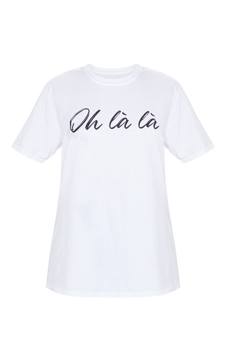 White Oh La La Printed T Shirt 5