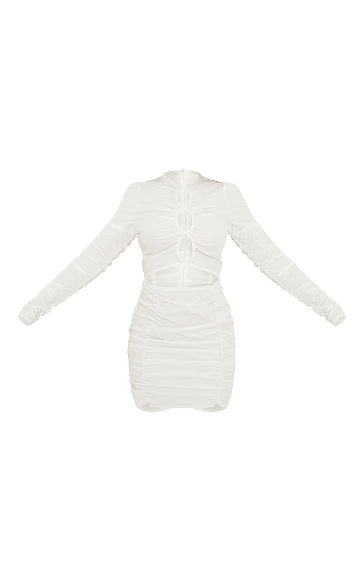 White Woven Ruched Multi Keyhole Cut Out Long Sleeve Bodycon Dress 5