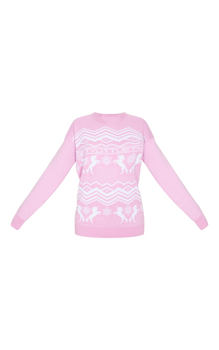 PRETTYLITTLETHING Pink Christmas Unicorn Print Jumper 3