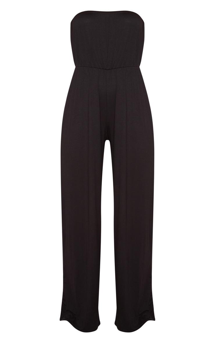 Black Jersey Bandeau Wide Leg Jumpsuit 3