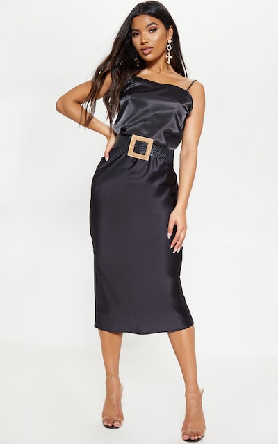 bde8947bb94 Black Satin Midi Skirt