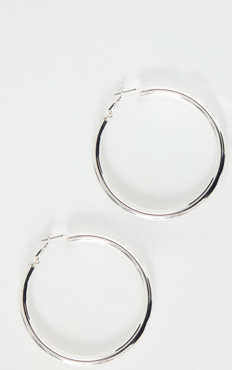 Silver Tubular Medium Hoop Earrings 2