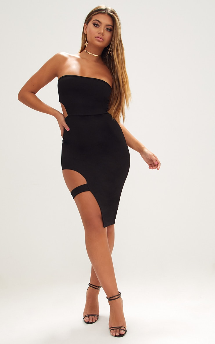 Black Cut Out Detail Bandeau Midi Dress 4