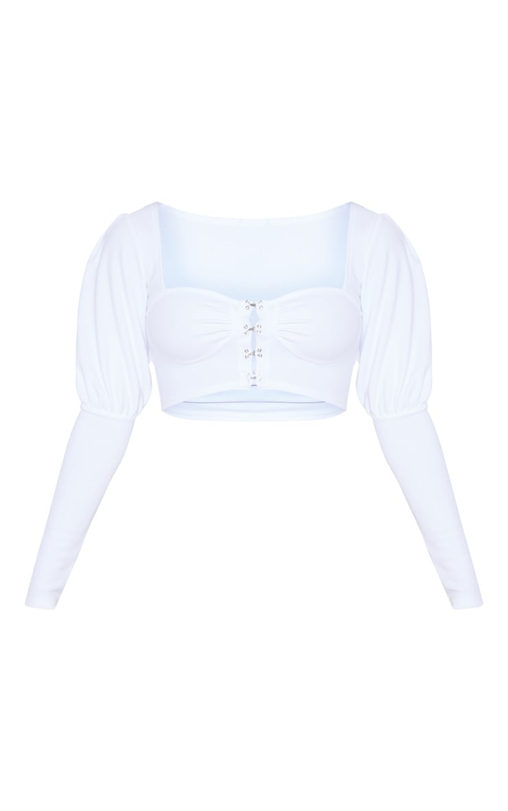 White Hook And Eye Long Sleeve Crop Top 3