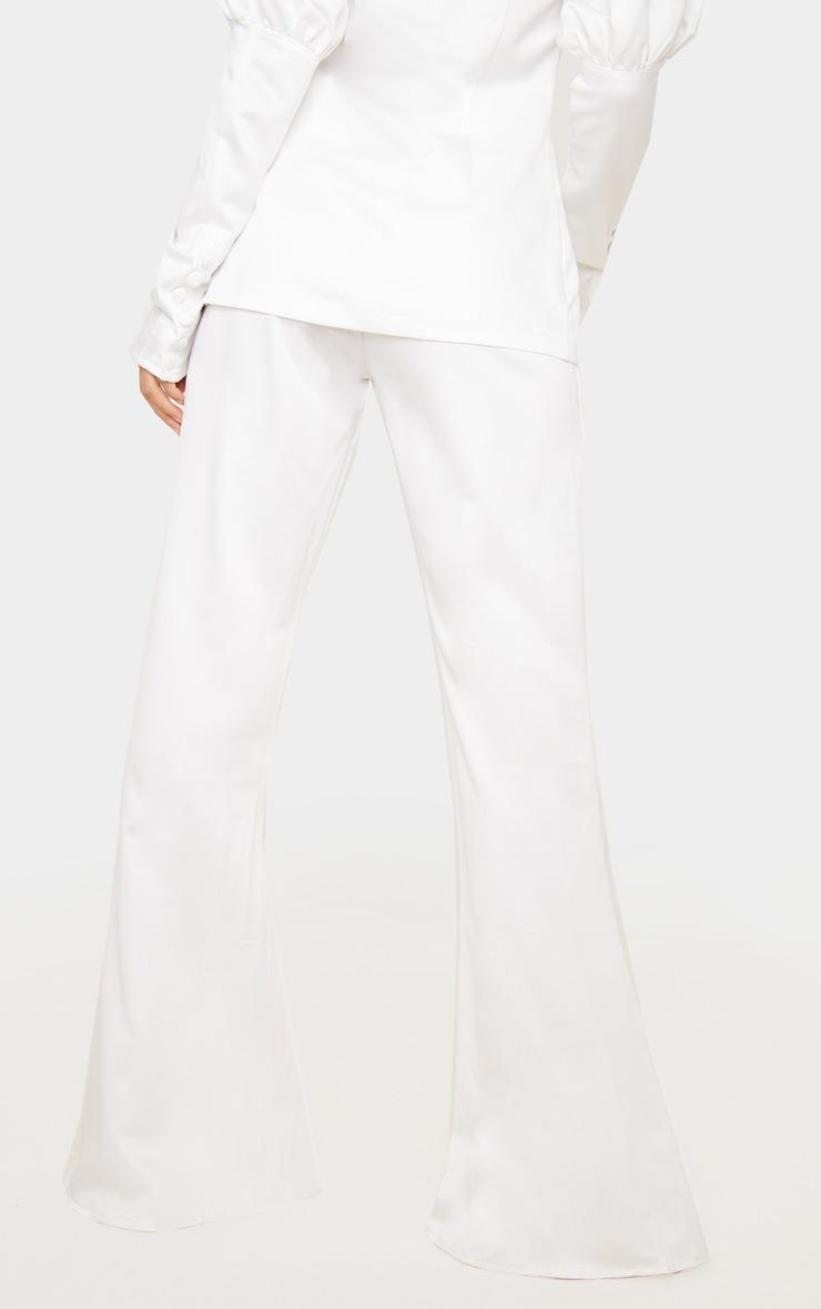Petite Cream Satin High Waisted Satin Trousers 5