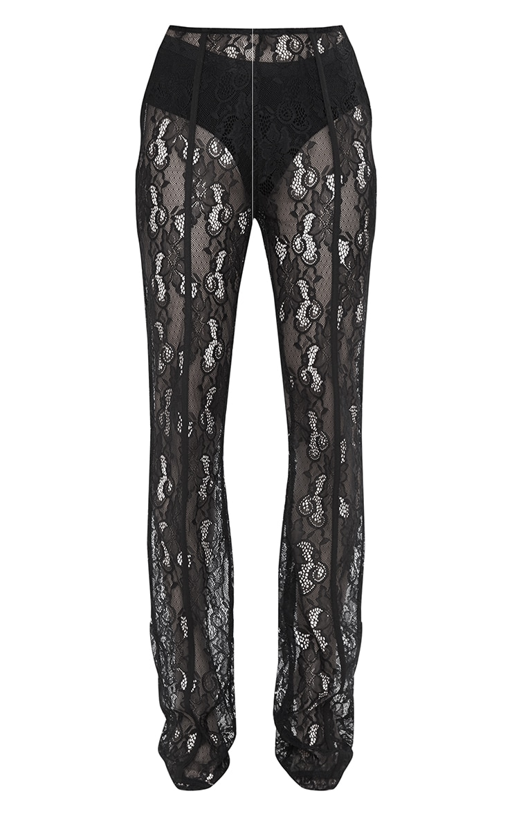 Black Sheer Lace Flared Trousers 5