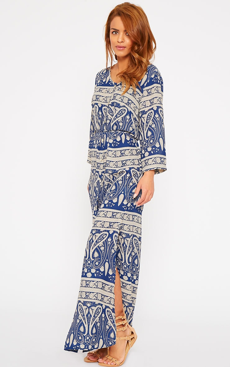 Octavia Blue Paisley Print Button Front Maxi Dress 4
