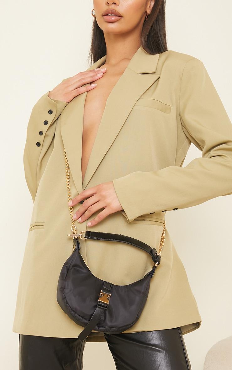Black Nylon Rounded Front Gold Buckle Shoulder Bag