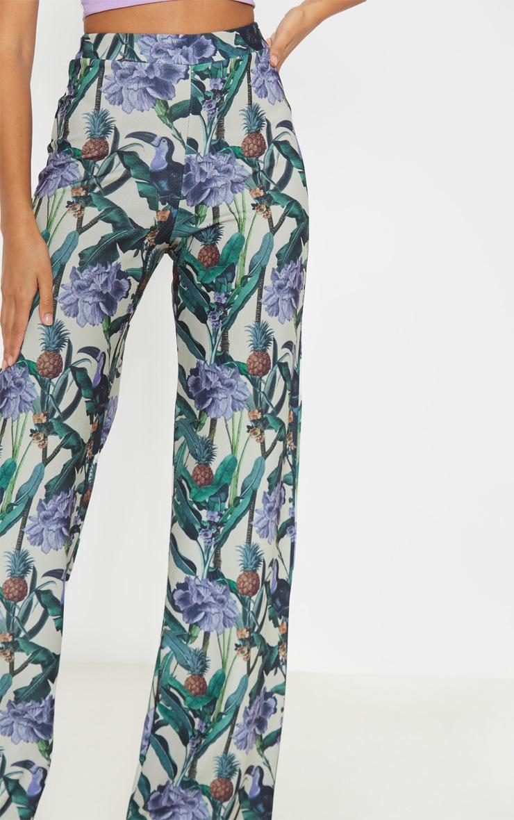 Sage Green Floral Print Wide Leg Trouser  5