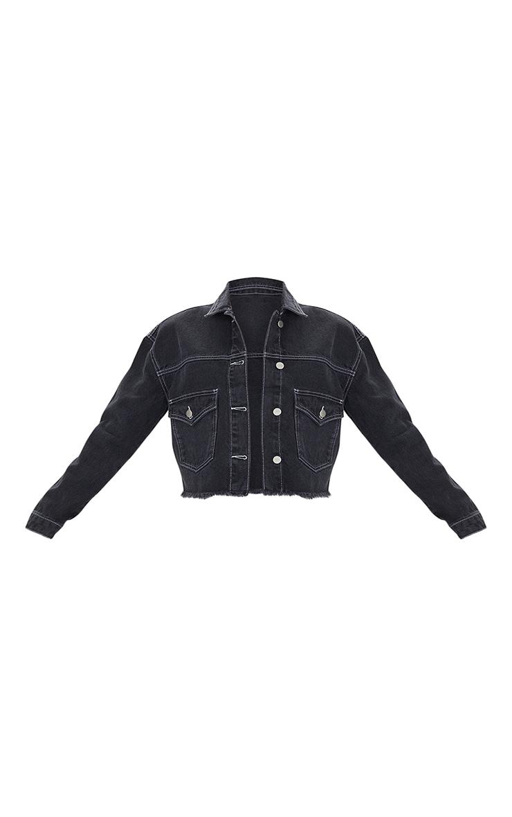 Black With White Contrast Stich Oversized Cropped Pocket Detail Denim Jacket 5