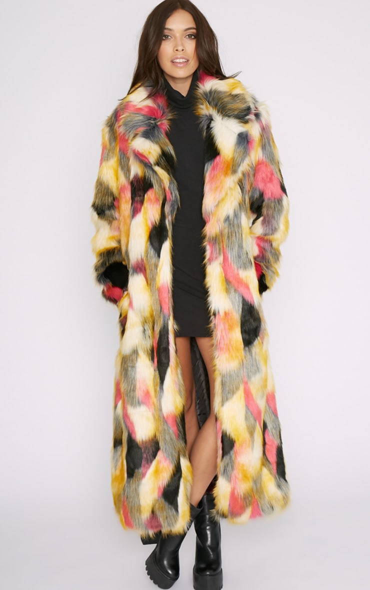 Mirabelle Multi-Coloured Longline Faux Fur Coat 6