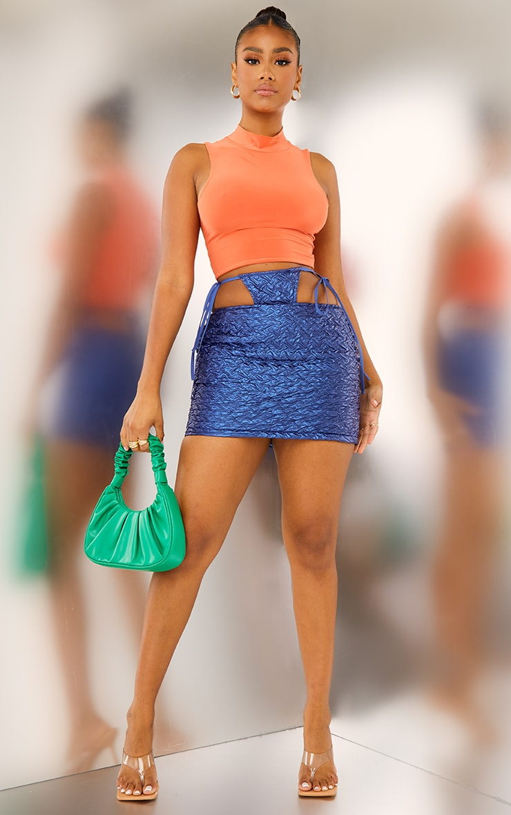 Blue Faux Leather Textured Thong Tie Detail Mini Skirt 1