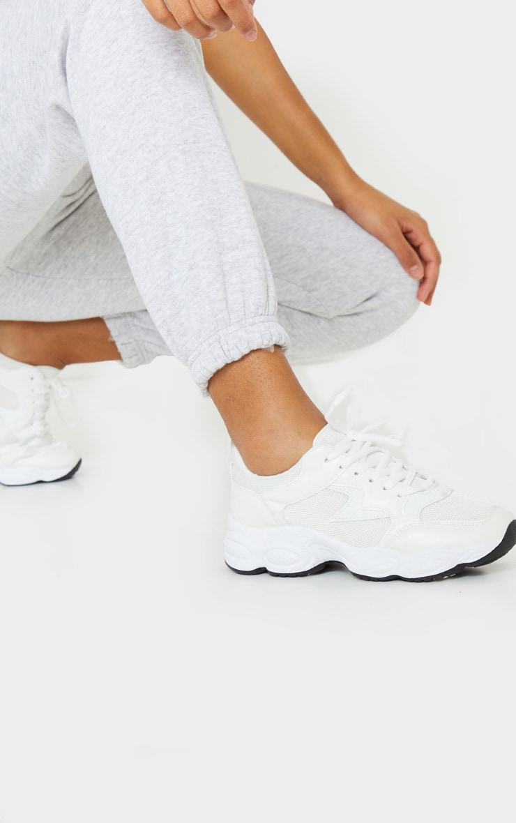 White Basic Bubble Sole Chunky Trainers 1