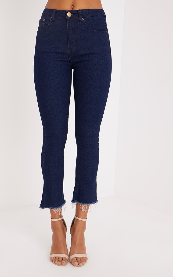 Alexaen Dark Wash Cropped Kick Flare Jean 2