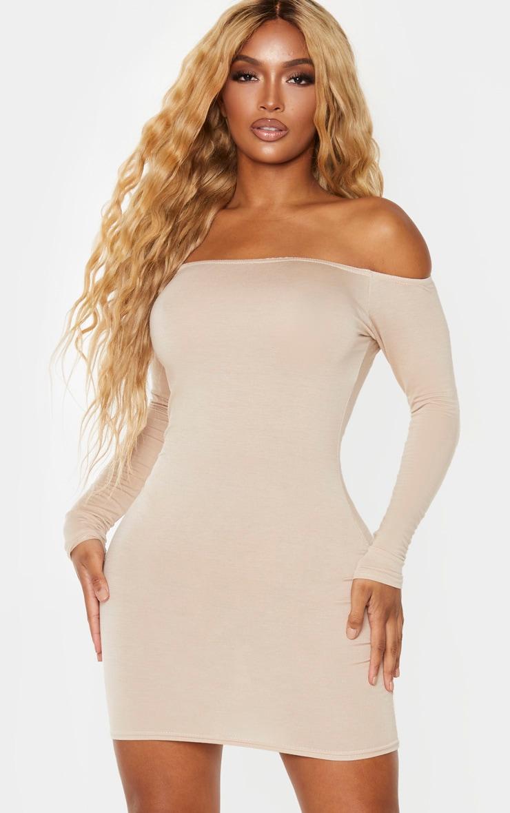 Shape Stone Jersey Bardot Bodycon Dress 1
