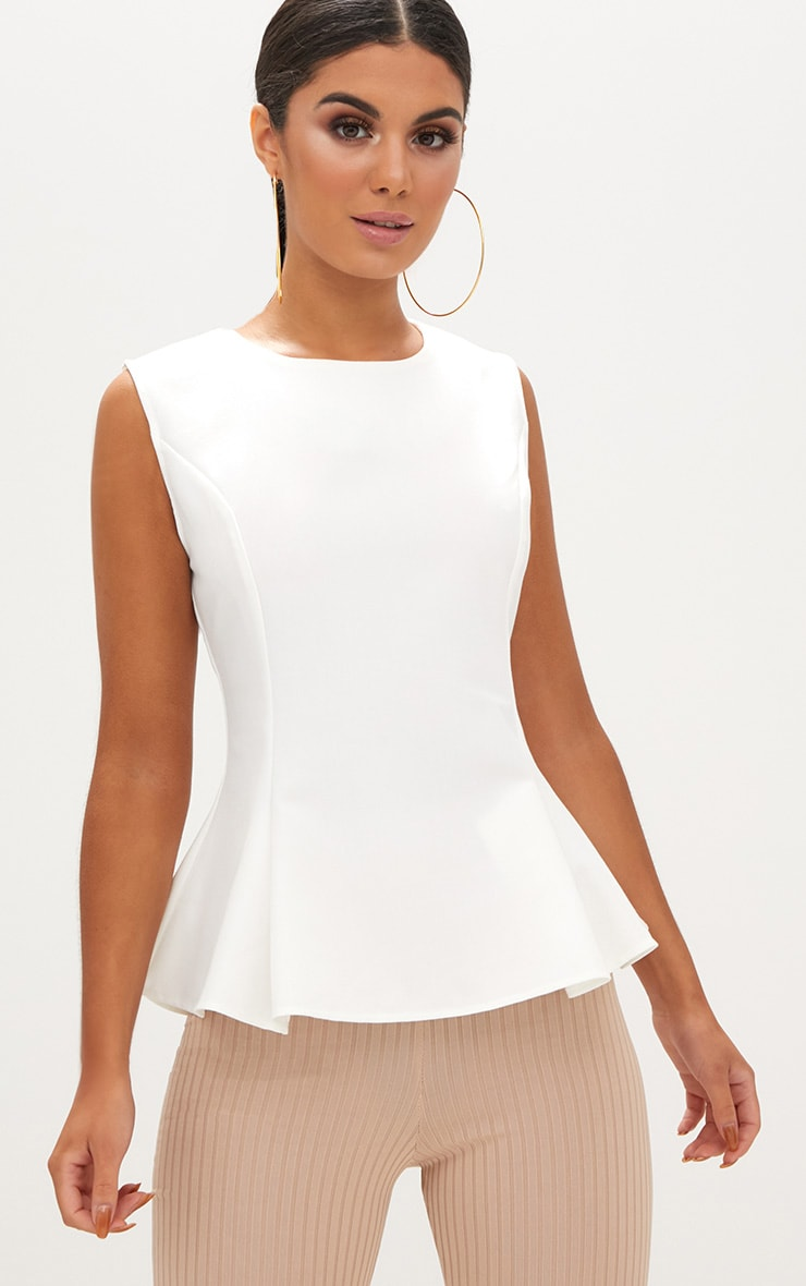White Sleeveless Peplum Hem Woven Top 1