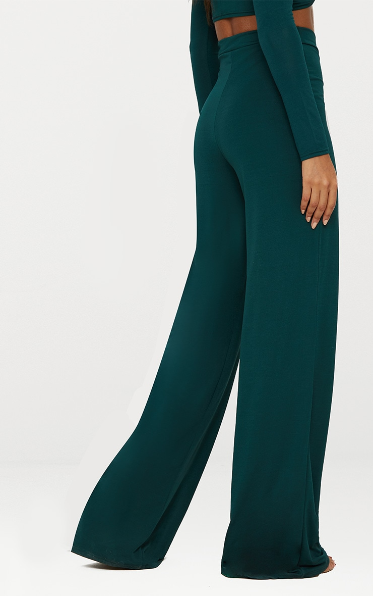 Emerald Green Slinky Wide Leg Pants  5