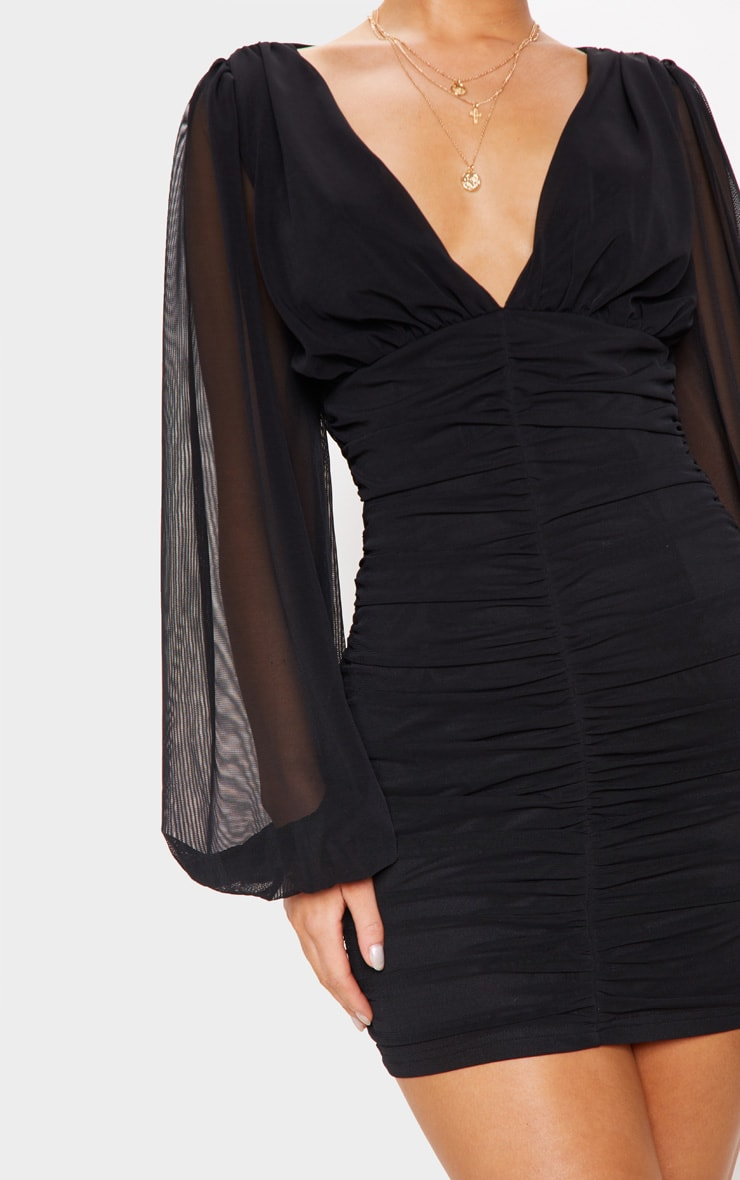Black Mesh Ruched Balloon Sleeve Bodycon Dress 5