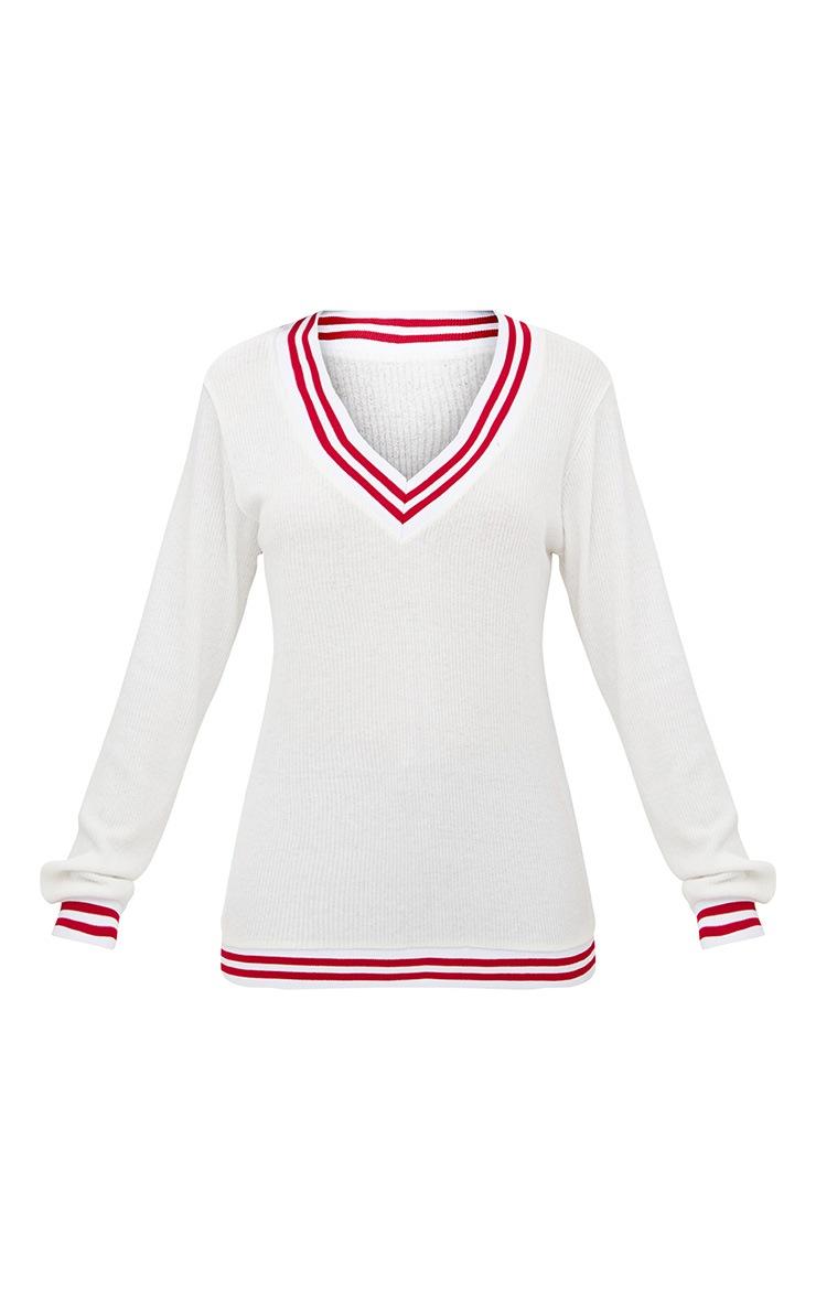 White  Brushed Soft Rib Sport V Neck Sweater 3