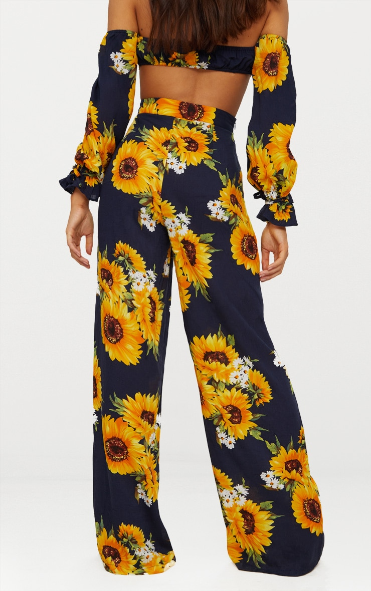 Petite Navy Sunflower Print Wide Leg Trousers 4