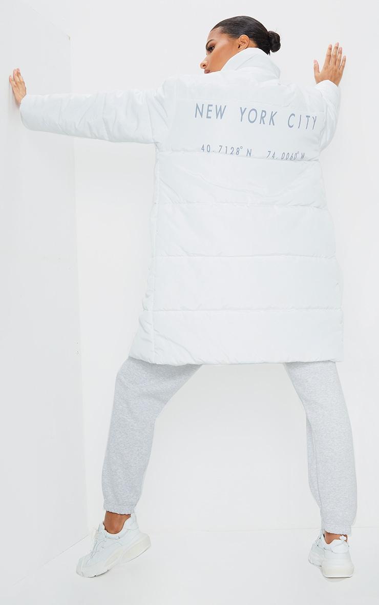 White Slogan Midi Oversized Puffer Coat 1