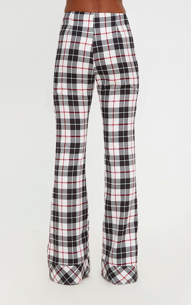 White Tartan Check Flare Trousers 4