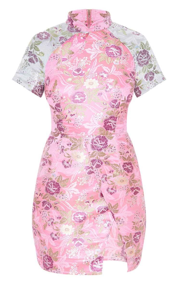 Pink Oriental Side Split Bodycon Dress 3