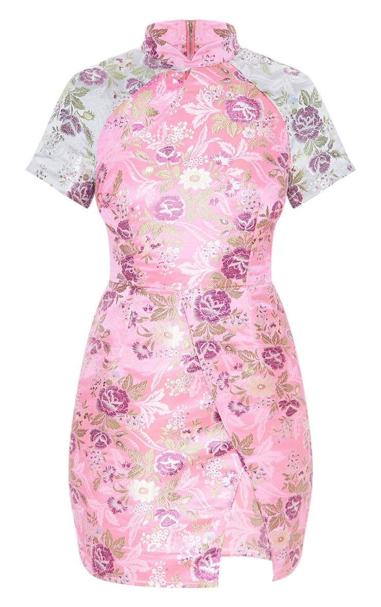 Robe moulante fendue à imprimé style asiatique rose  3