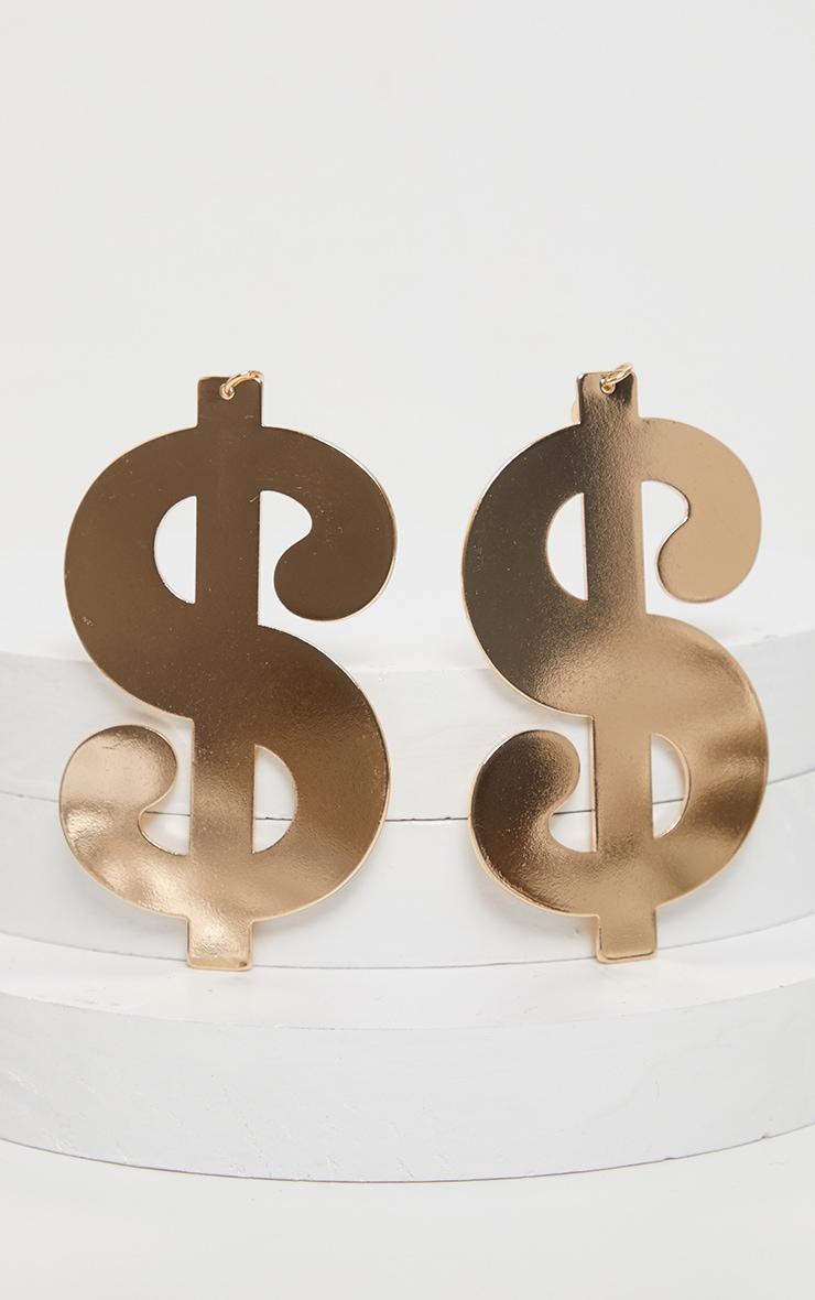 Gold Dollar Sign Earrings 3