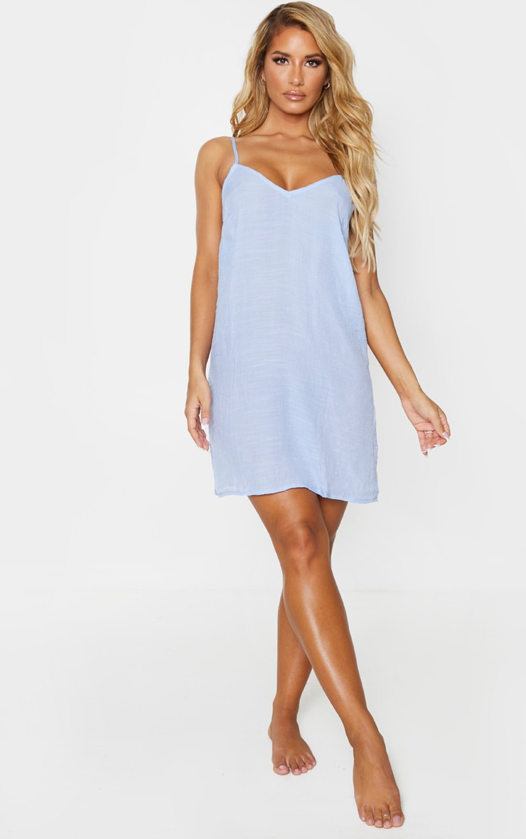 Baby Blue Linen Look Strappy Cami Beach Dress 3