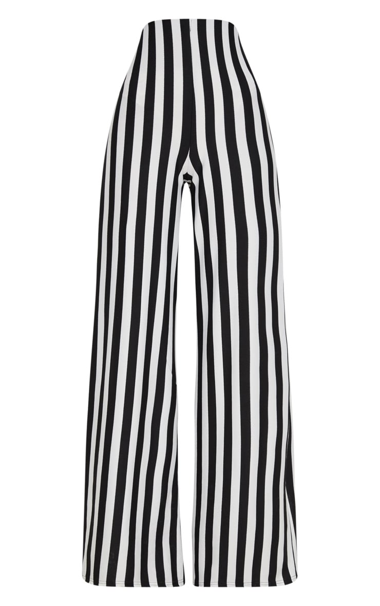Black High Waisted Crepe Stripe Wide Leg Trouser 3