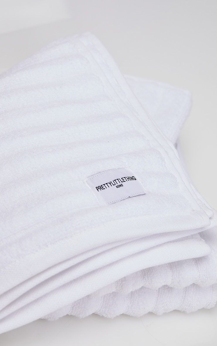 White Textured Ribbed 2 Pack Cotton Hand Towel 4