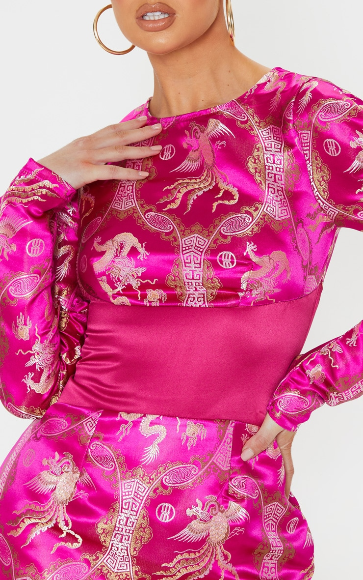 Pink Jacquard Oriental Waist Panel Detail Bodycon Dress 5