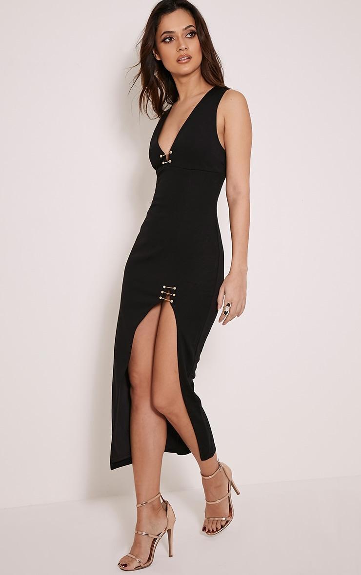 Ally Black Pin Detail Plunge Midi Dress 4