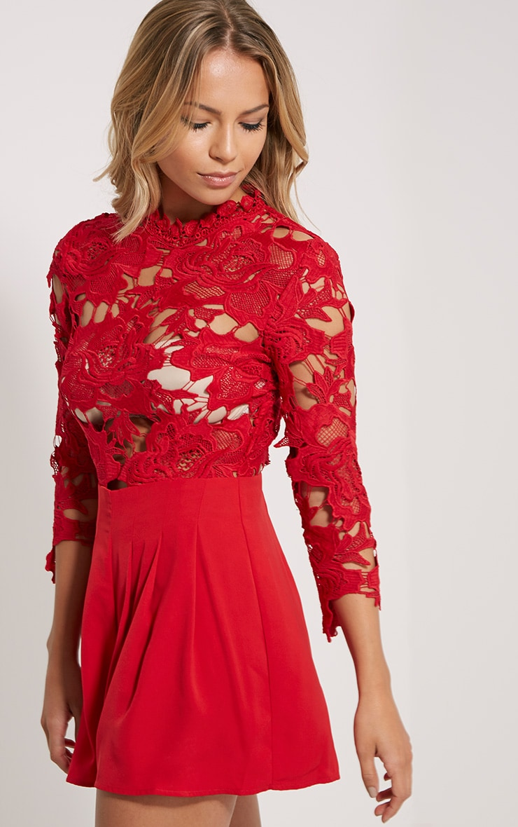 Elmira Red Lace Top Playsuit 4