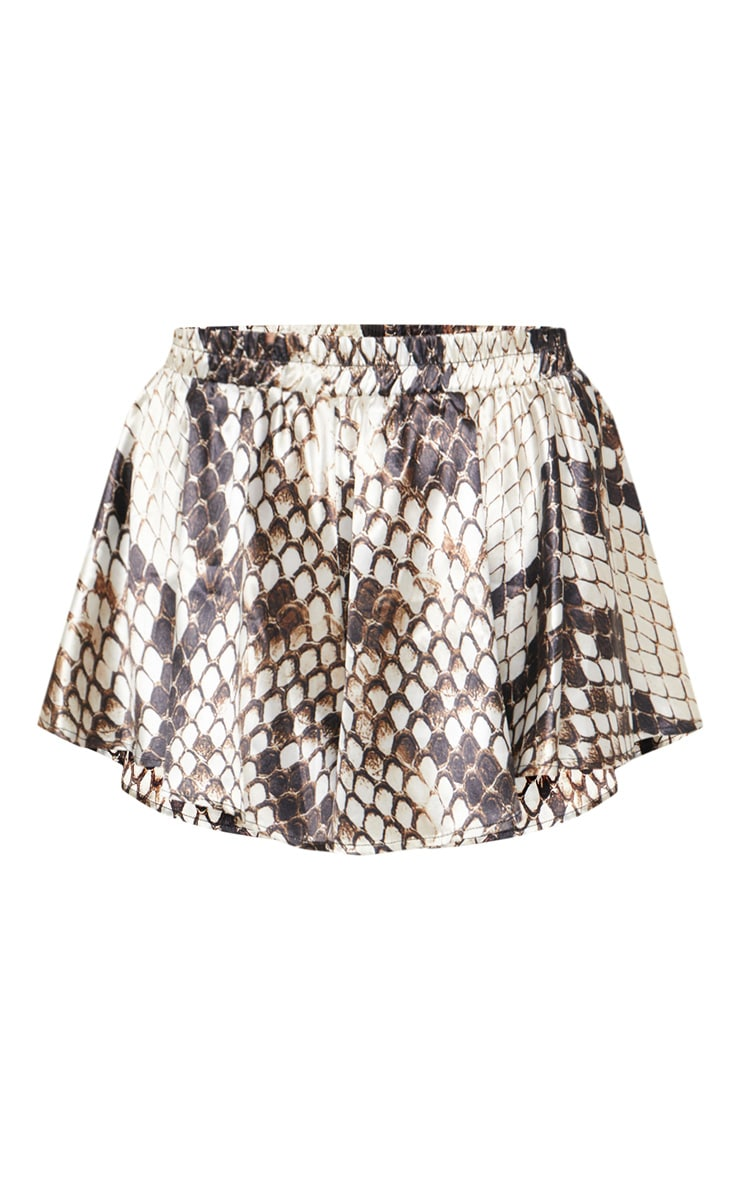 Brown Snakeskin Printed Floaty Short 3