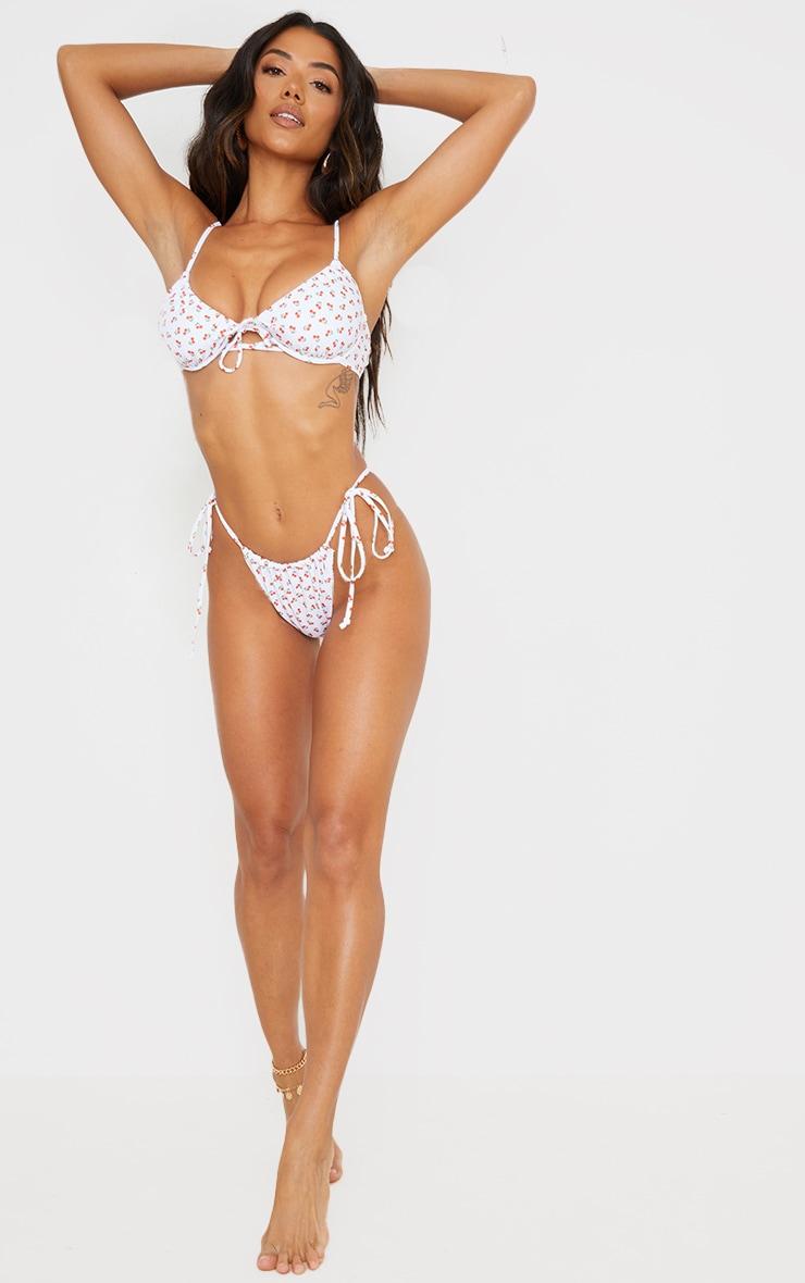 White Cherry Print Ruched Tie Side Bikini Bottoms 3