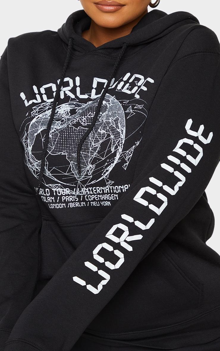 Plus Black Worldwide Slogan Oversized Hoodie 4