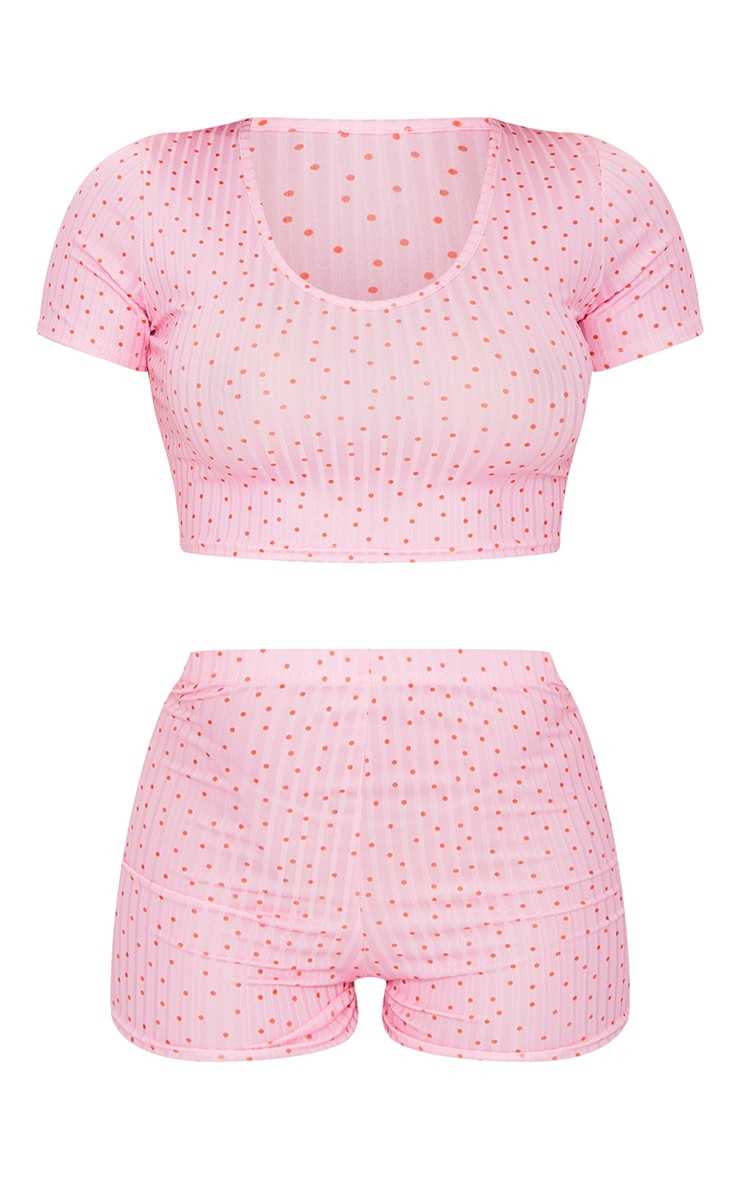 Pink Ditsy Polka Dot Cropped Scoopneck And Shorts Pj Set 5