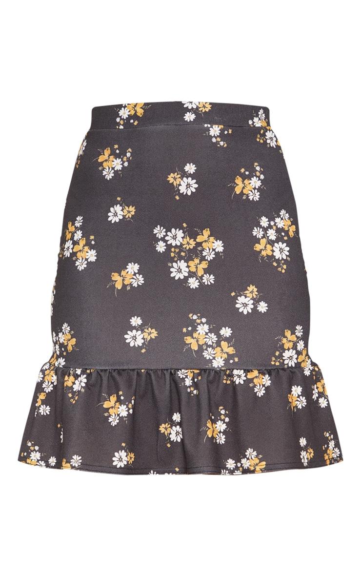 Black Floral Frill Hem Skirt 3